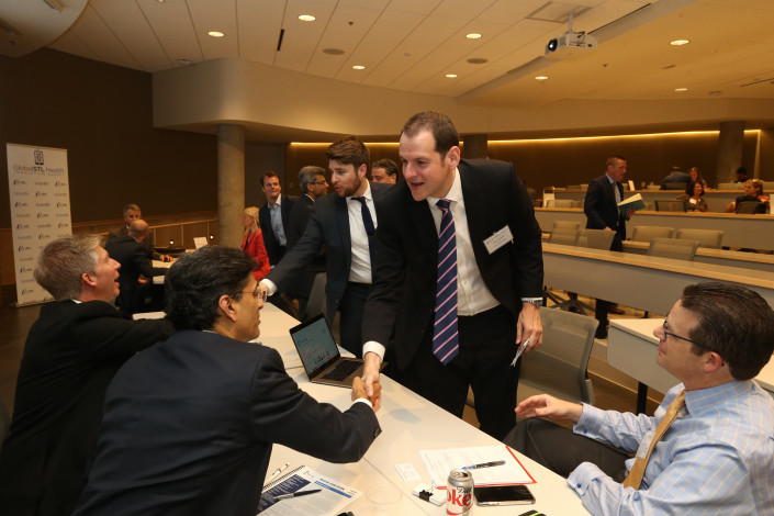 Ken Cahill, CEO of SilverCloud, meets St. Louis health care execs at the inaugural GlobalSTL Health Innovation Summit