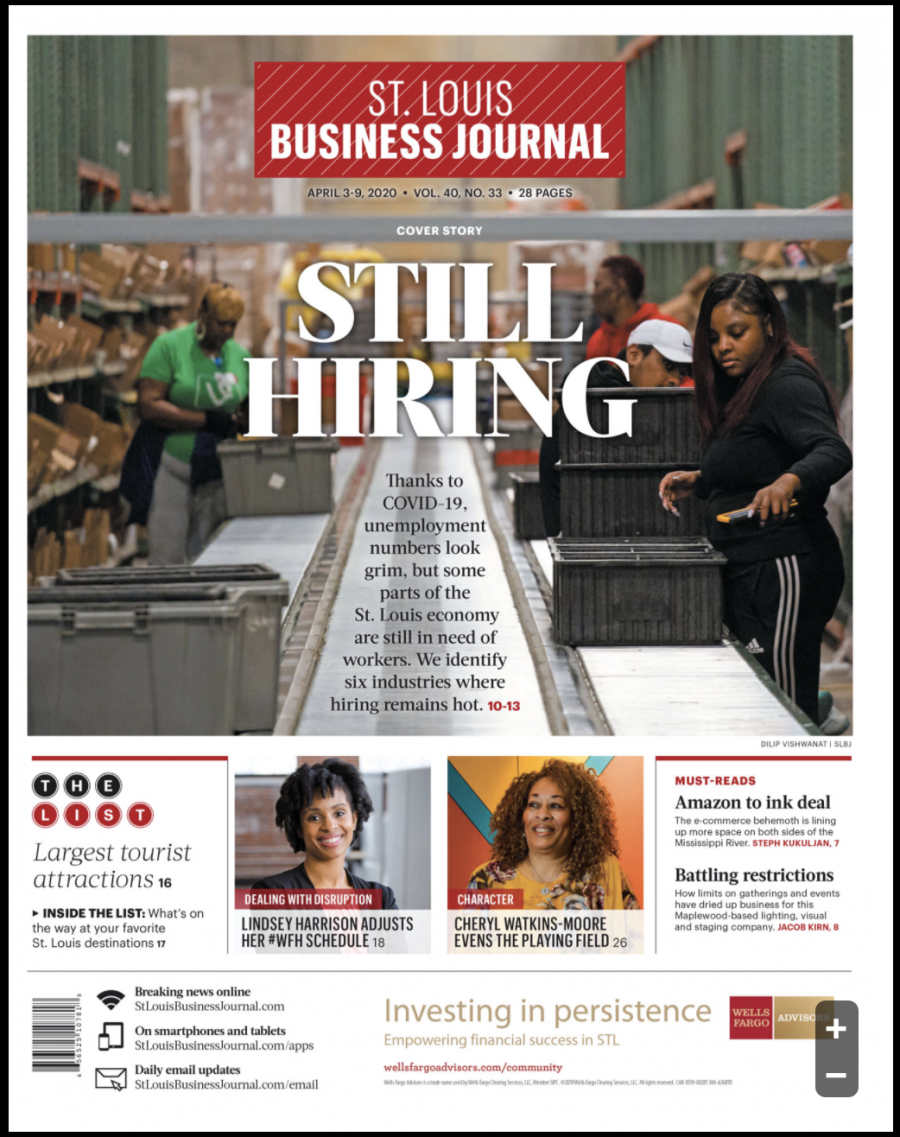 The cover of the St. Louis Business Journal features two BioSTL employees (April 3, 2020)