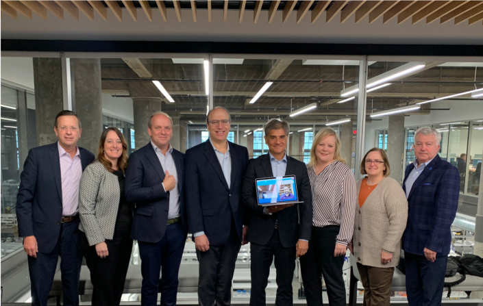 The Coala team meets in the BioSTL Building Bayer Board Room after hiring its first St. Louis employee and adding two St. Louisans to its U.S. Advisory Board of Directors