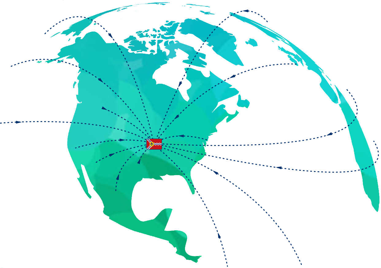 Graphic representing companies moving to St. Louis